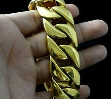 Heavy 18k Gold Stainless Steel Men's Cuban Link Chain Bracelet Biker 20mm 8.66''