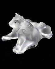 """Lalique """"Tambwee"""" Lion Cubs Signed Marie-Claude Lalique France  3-17-90 XLNT"""