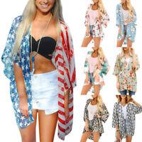 Women Floral Loose Kimono Cardigan Boho Beach Chiffon Top Bikini Cover Up Blouse