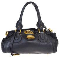 Authentic CHLOE Logo Paddington Shoulder Bag Leather Black Padlock Italy 01MB156