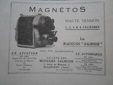 1922-24 PUB SOCIETE MOTEURS SALMSON MAGNETO AVIATION AUTOMOBILE FRENCH AD
