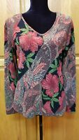 Beautiful CHICO'S Red Paisley & Floral Stretch Long Sleeve Blouse Top Size S-M