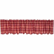 Braxton Red Plaid Valance Scalloped Lined 16x90 Country Cafe'