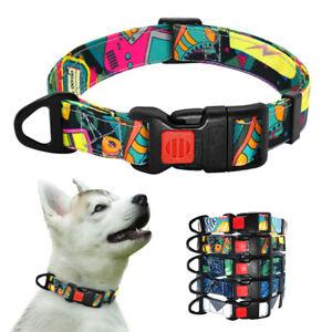 Nylon Printing Dog Collar Adjustable for Small Medium Large Pets Lockable Buckle