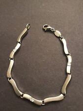 "Nice Fossil Brushed Sterling Silver w/ Cz's, 7&1/4"" Long Fashion Bracelet"