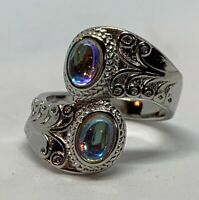 Retro Solemn Carved Pattern Inlaid Color Crystal Silver Plated Women Ring Size 8