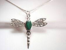 Green Malachite Dragonfly Necklace 925 Sterling Silver Corona Sun Jewelry