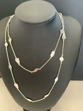 Genuine 925 Sterling Silver Long Necklace Hammered Teardrop Diamond Chain Women