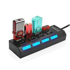 4-Port USB 2.0 Multi HUB Splitters Expansion High Speed For PC Laptops Mac Black