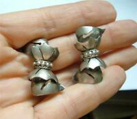 Vintage Mexican Sterling Silver Earrings OLD Pierced layered Bows Screwbacks