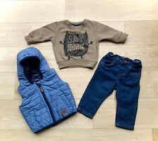 NEXT *3-6m BABY BOYS Full Outfit JEANS TOP & GILET OUTFIT 3-6 MONTHS