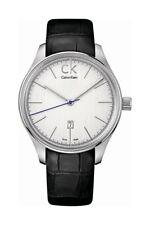 Calvin Klein Herrenuhr Edelstahl Silber Lederband Datum Analog  K9811138