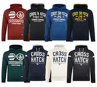 Crosshatch Men's Printed Hooded Sweatshirt Fleece Hoodie Blue Navy Black New Top