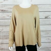 Chicos Womens Stretch Long Sleeve Tunic Sz 3 Beige/Camel Neveah Style Top