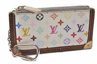 Auth Louis Vuitton Monogram Multicolor Pochette Cles White Coin Case LV B3548