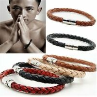 Unisex Women Men Braided Leather Magnetic Clasp Bracelet Bangle Stainless Steel