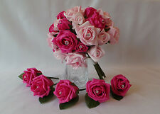 Wedding Bouquet and 10 Buttonholes in Hot Pink and Pink