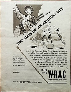 The War Office Join the WRAC Women's Royal Army Corps Vintage Advertisement 1950
