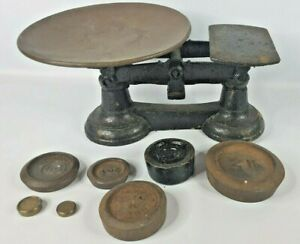 Vintage Cast Iron Balance Scales with pan and numerous weights