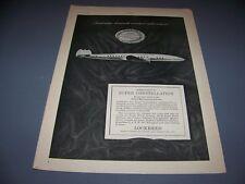 VINTAGE..1952 LOCKHEED SUPER CONSTELLATION..SALES AD ..RARE! (281J)