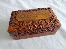 Hand Carved WOOD TRINKET BOX Hinged Lid Made in INDIA Brass Leaves Intricate
