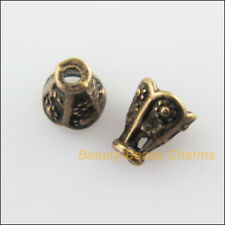 60Pcs Antiqued Bronze Tone Cone Flower End Bead Caps Connectors 5.5x6.5mm