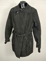 WOMENS NEXT BLACK QUILTED COLLARED ZIP BUTTON COAT JACKET UK 12