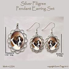 Saint Bernard Dog - Filigree Pendant Earring Set
