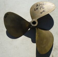 "21 X 22 BRONZE 3 Blade Left Hand Propeller 1-1/2"" Bore Prop Wheel 21x22 A24"