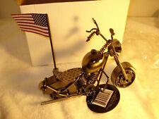 MOTORCYCLE CUSTOM BIKE CHOPPER HandMade METAL MODEL ART SCULPTURE harley flag