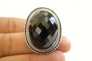 Bead Edged Black Onyx 925 Sterling Silver Ring Adjustable 6, 7, 8, 9, 10