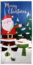 "New Christmas House Plastic Door Cover  30"" x 60"" Decoration ~ Santa & Snowman"