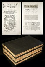 1578 Estienne PLATO DIALOGUES in GREEK-LATIN 3 Vols STEPHANUS Ed. in ROYAL FOLIO