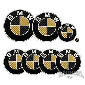 For BMW Badge Satin Carbon Fibre Black & Gold All Models Decals Stickers Fiber