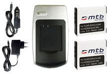 Chargeur +2x Batterie NP-50 pour Fuji Fujifilm FinePix F100fd, F60fd, F50fd