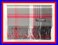 100% Cashmere Scarf Gray Black Check Plaid Scottish Tartan Wool Infinity ZJSF