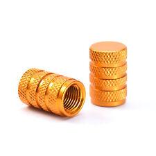 4 X ALUMINUM TIRE/RIM VALVE/WHEEL AIR PORT DUST COVER STEMS CAP/CAPS GOLD ALLOY