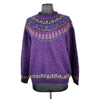 Vintage Northern Isles Women's Size XL Purple Hand Embroidered Knit Sweater