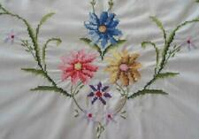 Vintage Summer Floral Embroidered Tablecloth Banquet Size Blue Pink 116""