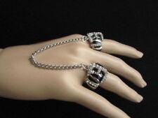 Belt Buckle Fashion Two Fingers Zebra Sexy Women Ring Silver Black Metal Leopard