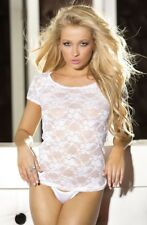 Short Sleeve Lace Flower Shirley Hollywood Top White & Black Cami 8 10 12 14 16