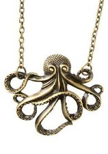 Octopus Necklace Steampunk Antiqued Bronze Pendant Vintage Jewelry