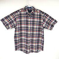 Pendleton Mens Seaside Short Sleeve Red Shirt Plaid Size Large