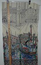 "Vintage Novelty GONDOLA Border Feedsack Fabric Flour Sack 36"" x 35"" boat"