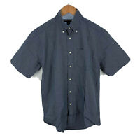 Tommy Hilfiger Mens Button Up Shirt Size S Blue Plaid Short Sleeve Collared