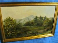 North Conway, NH  Viewpoint c.1900  Antique Oil on Board Painting