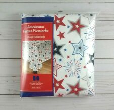 Vinyl Tablecloth 60 x 84 Red White Blue Stars Fireworks Picnic Party Camping