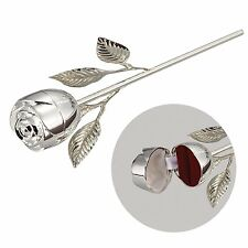 Wedding Ring Holder Ring Box Rose Silver Plated Engagement Bearer Pillow Gift