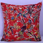 Ethnic Red Bird Pure Cotton Cushion Cover Kantha Stitch Throw Pillow Case home