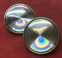 Vintage Earrings 1960s Round Clip On Silver Tone